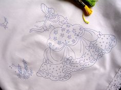 Crinoline Lady tablecloth to embroider lace edge Cotton print embroidery CSOOO4