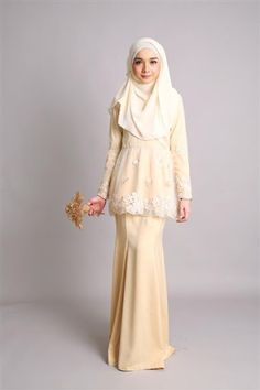 -Fabrics : Imported Soft Satin with Organza Flower Lace -Top Peplum Cutting with 6 panel skirt -Concealed hook and buttons -Wudu' Friendly -Hand Wash -Model is Muslimah Wedding Dress, Hijab Style Dress, Maxi Dress Wedding, Maxi Dresses, Dress Brokat Muslim, Muslim Dress, Kebaya Hijab, Kebaya Dress, Abaya Fashion