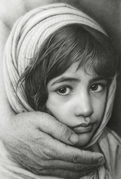 """Girl and Hand"" - Marcus Rafael Ferracin {figurative realism female head young child face portrait #hyperreal drawing}"