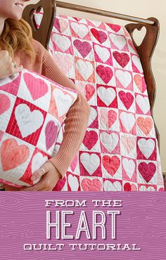 This week's tutorial is truly From the Heart! We're making it all in pink to show support for Breast Cancer Awareness Month, and we love the idea of writing encouraging messages on these little heart blocks. Click the link below to watch the quilting tutorial now! #MissouriStarQuiltCo #MSQC #JennyDoan #FromTheHeartQuilt #SewStrongTogether #BreastCancerAwareness #PinkRibbon #CharmPackQuilt #Quilting #Quilt #QuiltTutorial #QuiltPattern #QuiltBlock #HowToQuilt #Sewing #HeartQuilt… Heart Quilt Pattern, Quilt Patterns, Quilting Tutorials, Quilting Projects, Missouri Star Quilt, Easy Quilts, Applique Quilts, Machine Quilting, Quilt Blocks