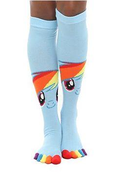 My Little Pony Rainbow Dash Knee-High Toe Socks want! My Little Girl, My Girl, Geeks, Grunge, Toe Socks, Crazy Socks, My Little Pony Friendship, Rainbow Dash, My Princess