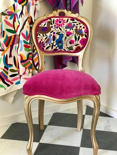 Embroidered Boho Side Chair