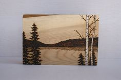 At the Lake  Woodland Nature Art   Original by TwigsandBlossoms, $42.00