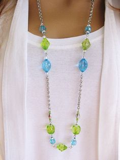 Blue and Green Long Beaded Necklace Silver by RalstonOriginals
