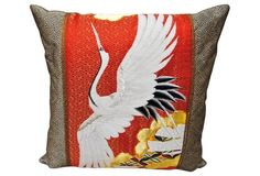 Japanese Silk Wedding Kimono Pillow