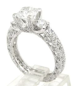 Round diamond engagement ring antique art deco 210ctw by KNRINC, $4850.00