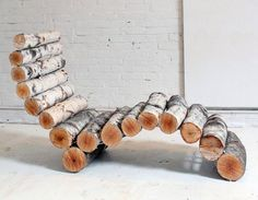 Log Lawn Chair! This would look pretty cool in cabin or rural retreat.  (instructions to build on website)
