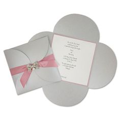 Board: Pearlised Silver / Layer Card: Pearlised Dusky Pink / Insert: Pearlised White / Ribbon: 23mm Dark Pink Satin - Tie / Embellishment: D...