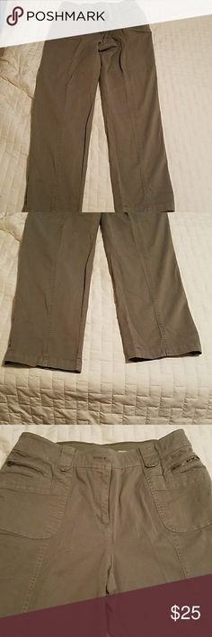 Chicos So Slimming Pants Chicos So Slimming.  Gently worn.  Size .5. Please check their size chart.  I believe to be a misses 6.  They are an olive color Chico's Pants Straight Leg