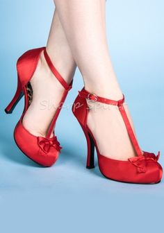 Red Satin D'orsay Pumps