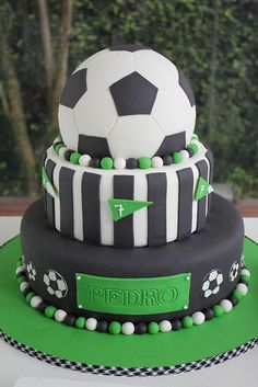 Soccer Birthday Cake Football Cake Thank you for this great idea for our next football party! Soccer Birthday Cakes, Birthday Desserts, Soccer Party, Soccer Theme, Soccer Cakes, Football Cakes For Boys, Soccer Ball Cake, Boy Cakes, 4th Birthday