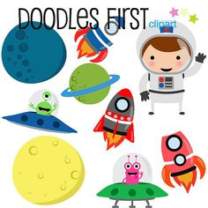 Aliens Rockets Spaceships and Astronauts Digital by DoodlesFirst, $2.99
