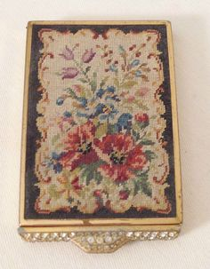 "Glitzy Pave ""Diamond"" Needlepoint Tapestry Gold Tone Compact Circa 1930 40s 