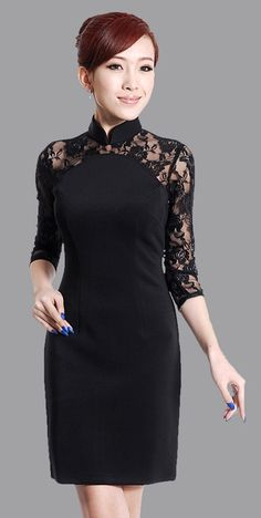Elegant black lace Chinese cheongsam dress