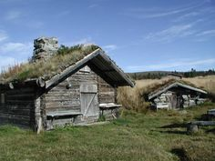 """Traditional summer houses, buvåll """"critter house"""" in Jämtland. 'Bu' is cognate to the English word """"booth"""" and 'våll' to """"weald"""" Viking House, Agricultural Sector, Old Cabins, Good Energy, Environment Design, Minimalist Design, Summer Houses, Modern Architecture, Sweden"""