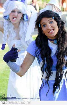 Lol this is silly, but made me laugh. Last Airbender Cosplay: Princess Yue & Katara flashing g-aang signs