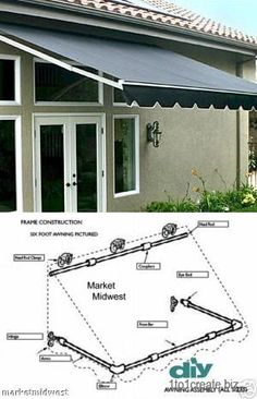 Pergola Ideas For Patio Diy Awning, Metal Awning, Diy Pergola, Pergola Ideas, Fabric Awning, Awning Canopy, Pergola Kits, Pvc Pipe Projects, Outdoor Projects