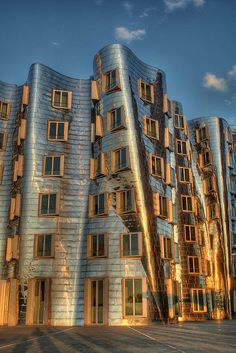 Gehry Building at Sunset - Neuer Zollhof Building in Dusseldorf, Germany;  designed by Frank Gehry;  photo by Ozan