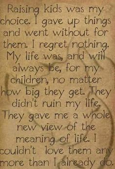 I regret nothing,my life was and will always be for my children no matter how big they get. They didn't ruin my life, they gave me a whole new view of the meaning of life Quotes For Kids, Great Quotes, Quotes To Live By, Life Quotes, Inspirational Quotes, Raising Kids Quotes, Super Quotes, Funny Quotes, Baby Quotes