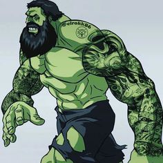 Not gonna lie. Hulk all tatted and bearded up makes his more intimidating. Amazing art done by by legendary_comics Hulk Tattoo, Hulk Marvel, Marvel Dc Comics, Avengers, Gay Comics, Comic Book Characters, Comic Books Art, Comic Art, Arte Do Hulk