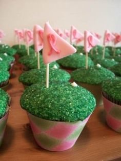 Golf Party Argyle Cupcakes for a Breast Cancer Fundraiser