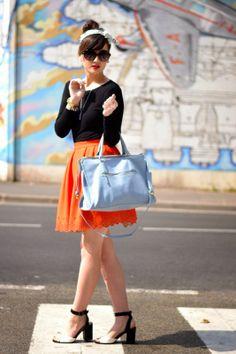 Retro inspired outfit. #fashion #paris #skirt #manoush #katelee #retro #color #springlook