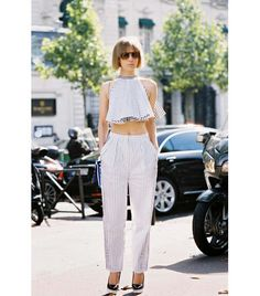 Flowy crop top + striped pants for spring/summer. // #streetstyle #fashion