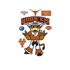 NCAA Hook'Em Texas Longhorns Mascot Wall Decal