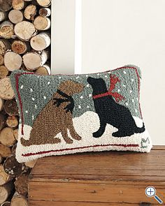 Cash and Oso Christmas pillow!1 (although they would NEVER put their cute doggy snout on this!!)