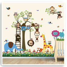 Animal Lion Monkey Wall Stickers Decor Decal Art Nursery Kids Childrens Bedroom