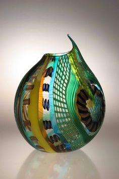 "Gianluca Vidal ""Tempeste 08"" Item #130605 Blown glass/Wheel cut 14 1/4"" h x 10 1/2"" w $2,900"