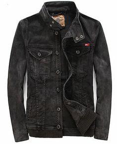 mens black motorcycle biker denim jacket coat outwear