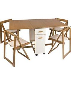 ARGOS Emperor Rectangular Table and 4 Folding Chairs Oak