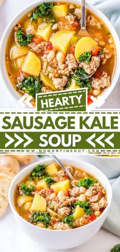 Your favorite comfort food made in one pot! This easy dinner recipe is filled to the brim with sausage, onions, potatoes, white beans, and kale. It's a hearty homemade soup recipe that will keep you full and satisfied. Enjoy this weeknight dinner idea!