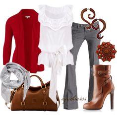 Grey, White, Red & Camel