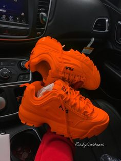 Image of tangire fila disuruptor ii 20 cute shoes with women fall outfits Sneakers Mode, Sneakers Fashion, Fashion Shoes, Sneakers Workout, Orange Shoes, Orange Sneakers, Hype Shoes, Fresh Shoes, Custom Shoes