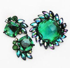 Claudette Emerald Green Demi Parure on Etsy, $215.00
