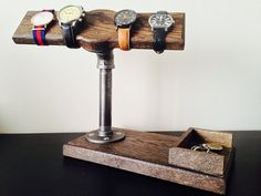 Solid Oak Watch / Jewellery Stand with by MadebyadeCANADA on Etsy, $58.00