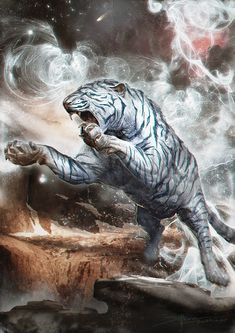 White dragon bird stay high on fantasy world. White Tiger Tattoo, Dragon Bird, Year Of The Tiger, Beast Creature, Tiger Art, Mythical Creatures Art, White Dragon, White Cats, Animal Paintings