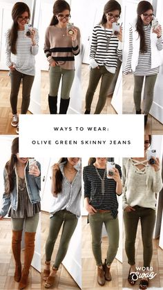 To look stylish and unique, especially at work, it's a good idea to wear army green pants. Olive Green Pants Outfit, Olive Green Jeans, Army Green Pants, Outfits With Green Pants, Olive Outfits, Olive Jacket, Green Jacket, Skinny Pants Outfits, Legging Outfits