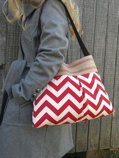 Lipstick Red and Cream Chevron Zig Zag Pleated Handbag Purse Tote Bag with Jute Webbing and Faux Suede Strap