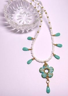 White and Turquoise Color Beaded Necklace Turquoise Necklace, Beaded Necklace, Turquoise Color, Summer Colors, Seed Beads, How To Make, Gold, Jewelry, Beaded Collar