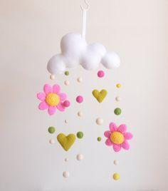 Flor y la nube móvil - vivero decoración de la pared, colgante móvil bebé, nube móvil, cuarto bebé, bola fieltro móvil, móvil, preparado para funcionar de ganchillo