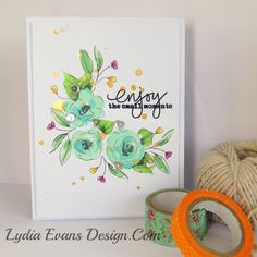 Altenew: 'Painted Flowers', doodle leaves and buds with no cosponsoring solid images are coloured w/ Copics,  sentiment is heat embossed it with clear, Heidi Swapp 'Gold Shine' , Lydia evans