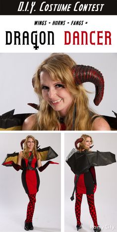 Kim's 'Black and Red' DIY dragon costume knocked us off our thrones! To conjure up the wicked-cool wings, she used black table cover supported by several cake boards inside. The horns are the ready-made accessory that inspired and topped off this DIY costume idea!