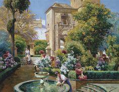 Manuel García Rodríguez The Alcazar Gardens, Seville c. 1920–25. Carmen Thyssen museum, Málaga, Spain.