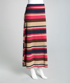 Take a look at this Fuchsia & Navy Bar Maxi Skirt by Modern Touch on #zulily today!