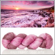 Expression Fiber Arts CALIFORNIA COAST yarn - soft raspberry and mauve tones hand-dyed onto 'Luster' Superwash Merino Wool + Tencel in a light sport weight