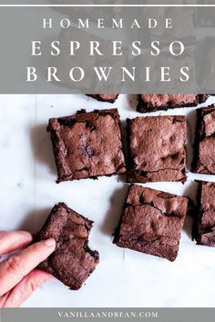 Like a chocolate truffle in brownie form, Homemade Espresso Brownies – gluten free   vegan are melt in your mouth and so simple to make. Fudgy or cakey, you decide! #brownies #espressobrownies #dessert #vegan #glutenfree | vanillaandbean.com @vanillaandbean Brownie Recipes, Cake Recipes, Dessert Recipes, Dessert Bars, Espresso Brownies, Biscuits, Muffins, Best Vegetarian Recipes, Healthy Recipes