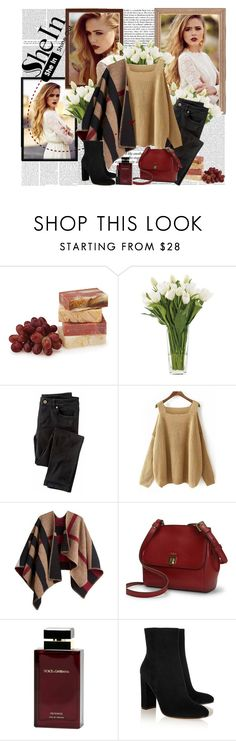 """""""SheIn - Khaki Off the Shoulder Knit Loose Sweater"""" by fashionaddict-il ❤ liked on Polyvore featuring Victoria Beckham, Oris, NDI, Wrap, Burberry, Ralph Lauren, Dolce & Gabbana Fragrance, Gianvito Rossi and NARS Cosmetics"""
